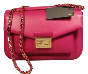 Fendi New Soft Nappa Leather Gold Chain Shoulder Bag