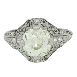 Antique Art Deco Platinum 2.04ct Diamond Filigree Engagement Ring EGL