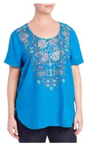 Johnny Was New With Tag Embroidered Top blue