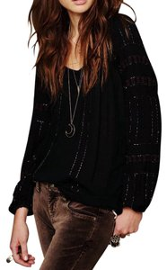 Free People Embroidered Embellished Peasant Oversized Bohemian Top Black Multi