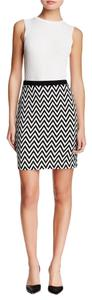 Karen Kane Bow Chevron Knit Skirt BLACK AND WHITE