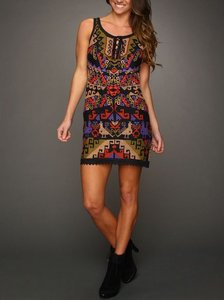 Free People short dress Black Bohemian Embroidered Mini Party Lace Up on Tradesy
