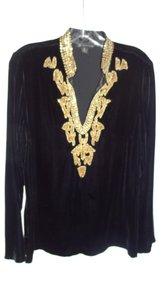INC International Concepts Velvet Gold Trim Top black