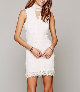 Free People Lace Victorian High Neck Cocktail Formal Dress