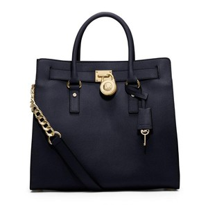Michael Kors Leather Tote in Navy/gold