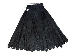 Talbots Black Silk Taffeta Embroidered Cutwork Lined Skirt