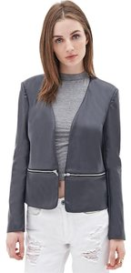 Forever 21 Collarless Faux Leather gray Leather Jacket