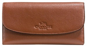 Coach F52715 New COACH PEBBLE LEATHER CHECKBOOK WALLET SADDLE