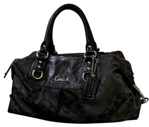Coach Leather Hardware Satchel in Black / Silver