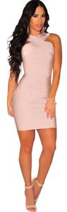 Hot Miami Styles Bandage Pink Slim Dress