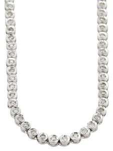 Estate 2ct Diamond 18k White Gold Fancy Disc Link Eternity Bezel Tennis Necklace