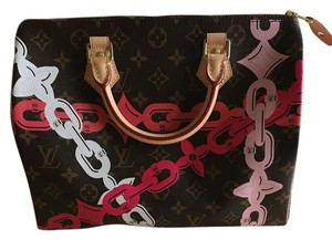 Louis Vuitton Speedy Tote in Monogram print with colored chains