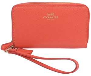 Coach Coach Double Zip Phone Wallet Watermelon Crossgrain Leather Wristlet