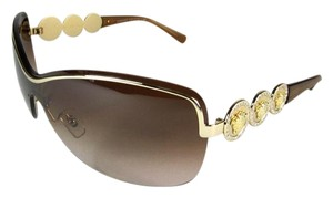 Versace Gold/Brown & Medallions/Crystals, Sunglasses