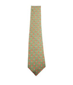 Herms Hermes, Mens, Vintage, Green, Red, Yellow, Multicolor, Silk, Necktie, 106494
