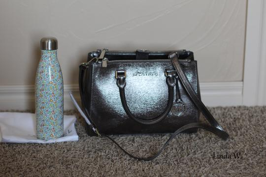 MICHAEL Michael Kors Leather Hardware Crossbody Removable Strap Satchel in Metallic Silver Image 11