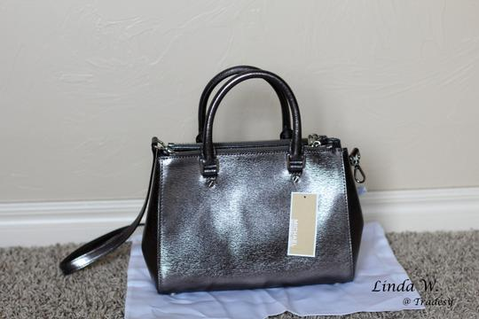 MICHAEL Michael Kors Leather Hardware Crossbody Removable Strap Satchel in Metallic Silver Image 3