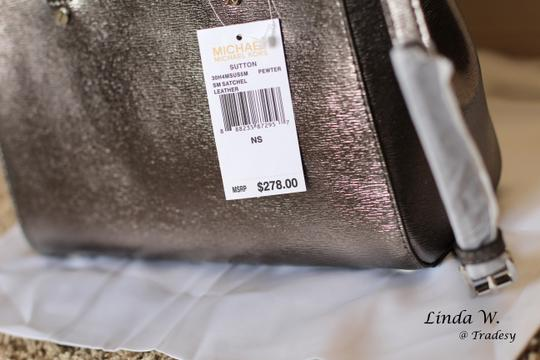 MICHAEL Michael Kors Leather Hardware Crossbody Removable Strap Satchel in Metallic Silver Image 4