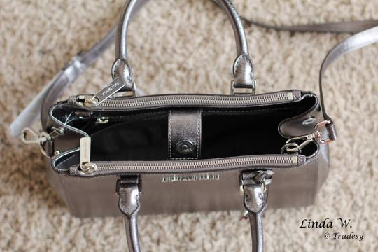 MICHAEL Michael Kors Leather Hardware Crossbody Removable Strap Satchel in Metallic Silver Image 5