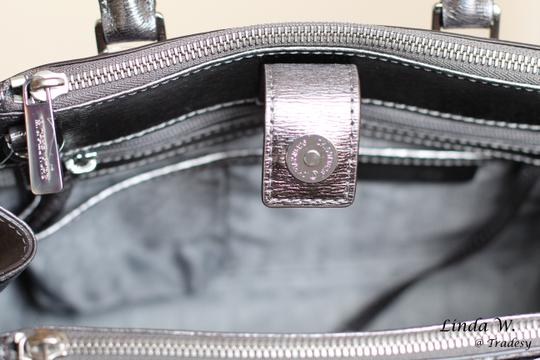 MICHAEL Michael Kors Leather Hardware Crossbody Removable Strap Satchel in Metallic Silver Image 6
