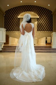 David's Bridal Cap-sleeve Slim Gown With Keyhole Back Style: Vw9768 Wedding Dress