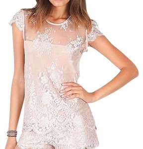 Alexis Embroidered Lace Mesh Eyelet Cap Sleeve Short Sleeve Mesh Floral Embroidered Top Beige