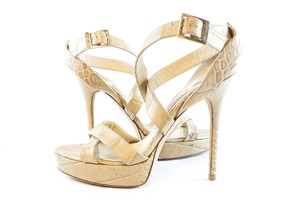 Jimmy Choo Stiletto Embossed Leather Beige Platforms
