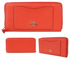 Coach Coach Women's Watermelon Crossgrain Lether Accordion Zip Wallet