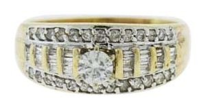 Other 14k Two-tone Gold Diamond Engagement Rings - Cluster Diamond