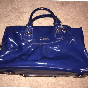 Coach 15454 Patent Leather Satchel in Cobalt Blue