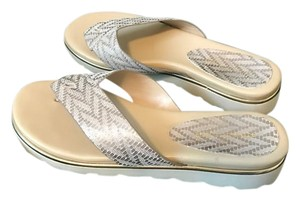 Donald J. Pliner White and Gold Sandals