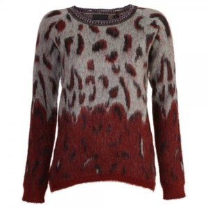Maison Scotch Vegan Animal Print Biker Wine Sweater