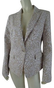Anne Klein Animal Leopard Pockets Lined Beige, White Blazer