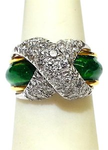Tiffany & Co. TIFFANY & CO SCHLUMBERGER 18k/Platinum,diamonds & green enamel ring