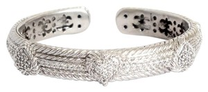 Judith Ripka Judith Ripka Sterling Silver CZ Hearts Hinged Bangle Bracelet