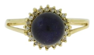 Cultured Black Pearl Diamond Halo Ring in 14k Yellow Gold