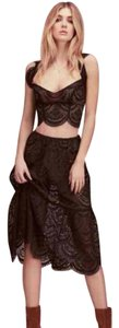 For Love & Lemons Lace Crop Midi Tie Dress