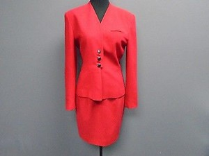 Dior Christian Dior Crimson Red Lined Two Piece Polyester Blend Skirt Suit