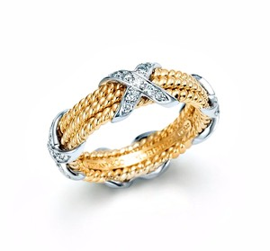 Tiffany & Co. TIFFANY & CO. SCHLUMBERGER Rope Three-Row X Ring Sz 5