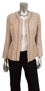 Chico's Tweed Boucle Collarless All Seasons Taupe/White/Pink Blazer