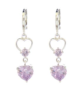 Other Purple Divine CZ Stone Dangle Heart Pendant Earrings