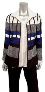 Chico's Tweed All Seasons Textured Open Style Fall Black White Blue Blazer