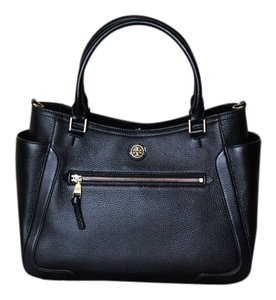 Tory Burch Leather Gold Hardware Satchel in Black