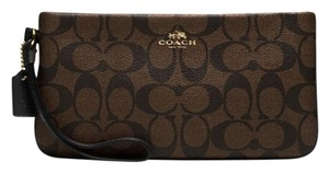 Coach F65748 Large Wristlet in Brown/Black