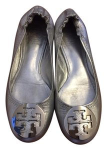 Tory Burch Silver Leather Flats