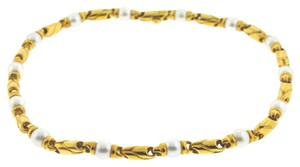 BVLGARI Bulgari Passo Doppio 18k Yellow Gold Pearl Chain Necklace