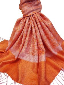 Vecceli Italy NEW Silky Blend Paisley Orange Pashmina Scarf A-05 - Free Shipping