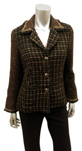 Chico's Tweed Fall Winter Fringe Hem Black Brown Blazer