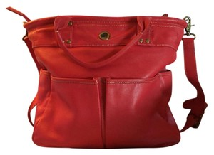 Levenger Leather Tote in Red/Orange