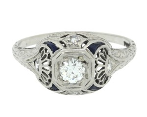 Other 1920s Art Deco Platinum .30ct Diamond Sapphire Engagement Ring EGL